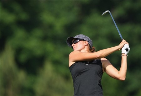 MUNICH, GERMANY - MAY 30:  Paula Marti of Spain plays her approach shot on the third hole during the second round of the Hypo Vereinsbank Ladies German Open Golf at Golfpark Gut Hausern on May 30, 2008 near Munich, Germany.  (Photo by Stuart Franklin/Bongarts/Getty Images)