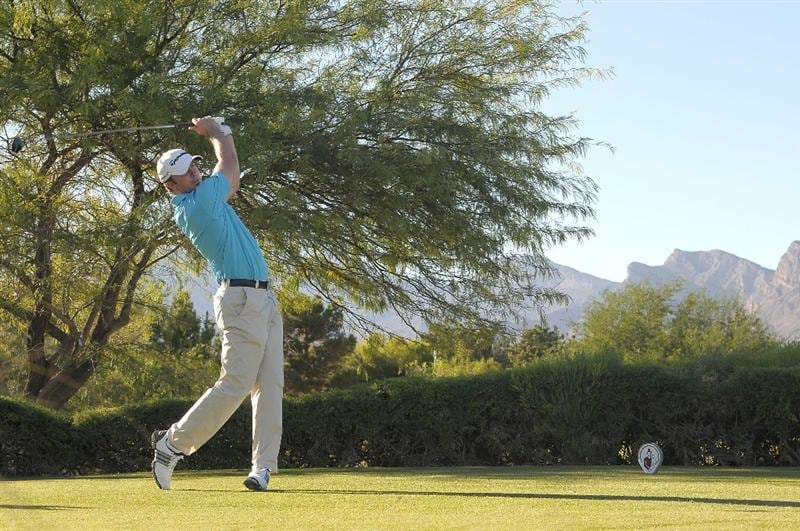 LAS VEGAS, NV- OCTOBER 16: Martin Laird of Scottland tees off the 2nd hole during the second round of the Justin Timberlake Shriners Hospitals for Children Open at the TPC Summerlin on October 16, 2009  in Las Vegas, Nevada. (Photo by Marc Feldman/Getty Images)