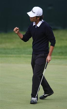 MILWAUKEE - JULY 18: Kevin Na celebrates hitting his putt on the 18th green during the third round of the U.S. Bank Championship on July 18, 2009 at the Brown Deer Park golf course in Milwaukee, Wisconsin. (Photo by Jonathan Daniel/Getty Images)