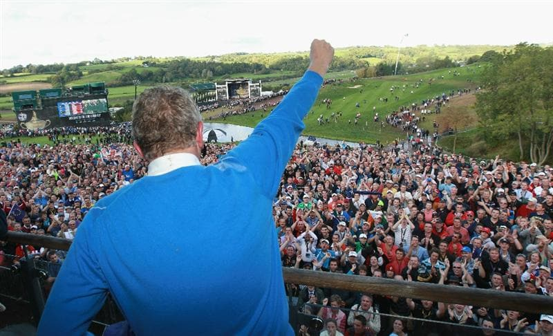 NEWPORT, WALES - OCTOBER 04:  Colin Montgomerie of Europe salutes the crowd on the balcony of the clubhouse following Europe's victory during the 2010 Ryder Cup at the Celtic Manor Resort on October 4, 2010 in Newport, Wales.  (Photo by Andrew Redington/Getty Images)