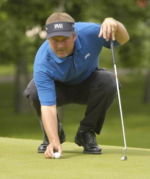 Jim McGovern lines up his putt on the second hole during the third round of the Nationwide Tour Xerox Classic in Rochester, New York,  Augu. 20, 2005.Photo by Kevin Rivoli/WireImage.com
