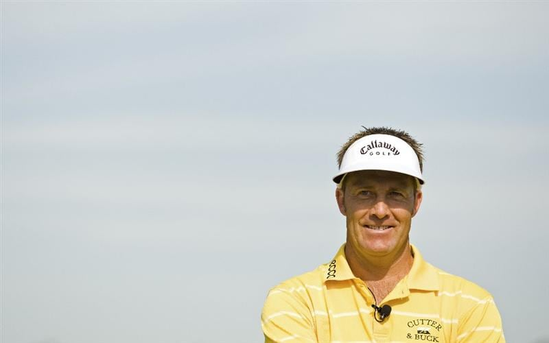 SIX MILE, SC - APRIL 25: Professional golfer Stuart Appleby during a golf clinic at the grand opening of the International Institute of Golf at The Cliffs at Keowee Spings golf course on April 25, 2009 in Six Mile, South Carolina. (Photo by Chris Keane/Getty Images)