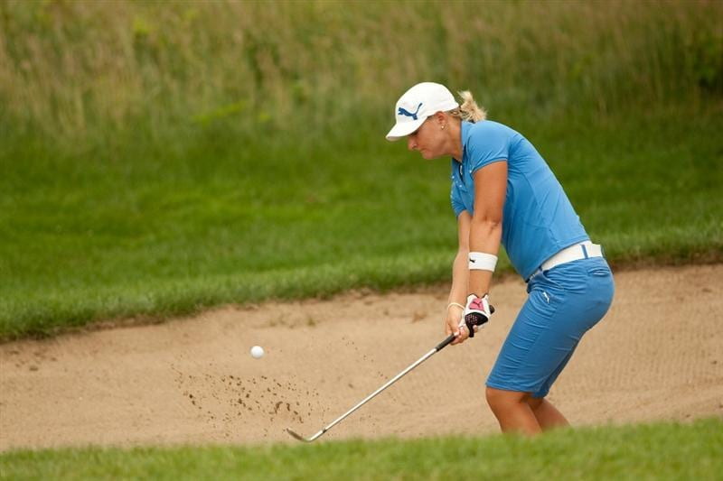 SPRINGFIELD, IL - JUNE 12: Anna Nordqvist of Sweden follows through on a bunker shot during the third round of the LPGA State Farm Classic at Panther Creek Country Club on June 12, 2010 in Springfield, Illinois. (Photo by Darren Carroll/Getty Images)