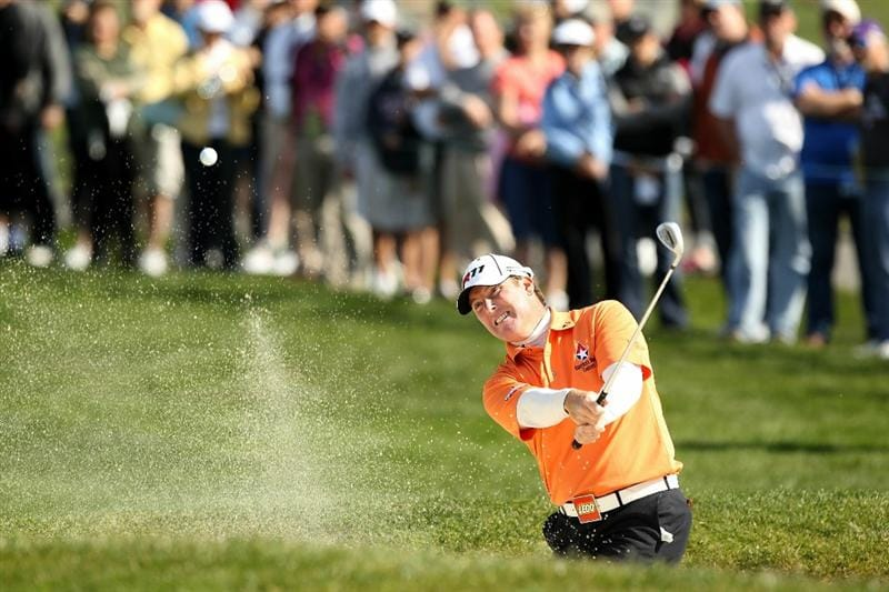 PEBBLE BEACH, CA - FEBRUARY 13:  D.A. Points chips out of the bunker on the 6th hole during the final round of the AT&T Pebble Beach National Pro-Am at the Pebble Beach Golf Links on February 13, 2011 in Pebble Beach, California.  (Photo by Ezra Shaw/Getty Images)