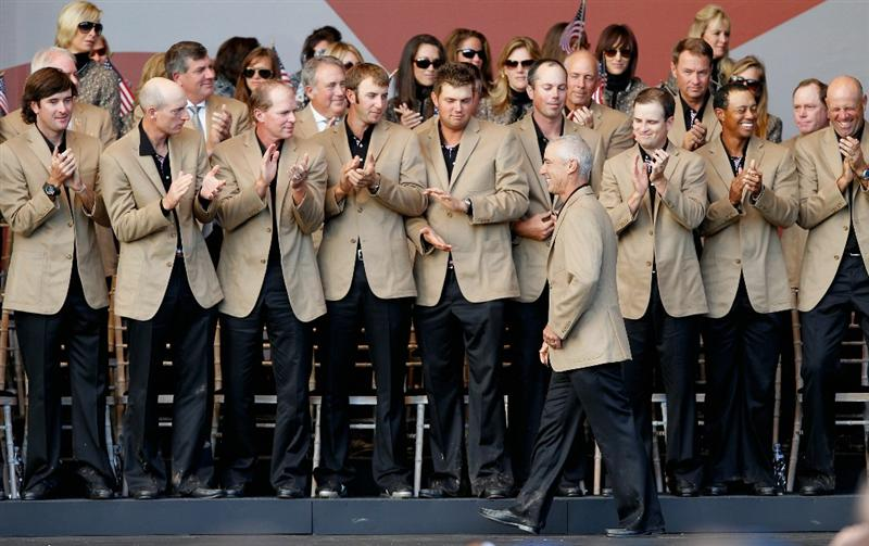 NEWPORT, WALES - OCTOBER 04: Team USA applaud their captain Corey Pavin at the Closing Ceremony of the 2010 Ryder Cup at the Celtic Manor Resort on October 4, 2010 in Newport, Wales. (Photo by Sam Greenwood/Getty Images)
