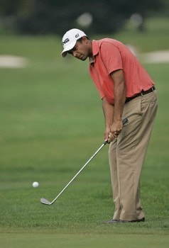 Arjun Atwal chips to the 14th green in the third round of the 2005 B.C. Open at En-Joi Golf Club in Endicott, New York. Saturday, July 16 2005.Photo by Chris Condon/PGA TOUR/WireImage.com