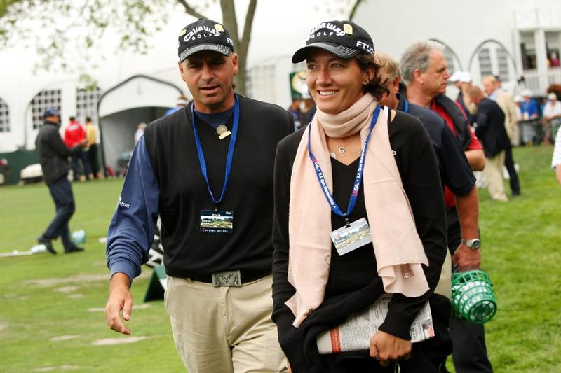 FARMINGDALE, NY - JUNE 16:  Rocco Mediate walks with Cindi Hilfman during the second day of previews to the 109th U.S. Open on the Black Course at Bethpage State Park on June 16, 2009 in Farmingdale, New York.  (Photo by Andrew Redington/Getty Images)