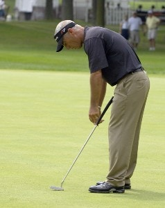 Corey Pavin reacts to a missed putt on the 14th green during the first round of the U.S. Bank Championship in Milwaukee at Brown Deer Park Golf Course in Milwaukee, Wisconsin, on July 27, 2006.Photo by Steve Levin/WireImage.com