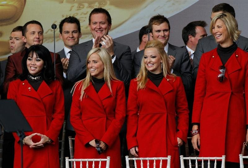 NEWPORT, WALES - SEPTEMBER 30:  (L-R)  Lisa Pavin, Amy Mickelson, Kandi Harris girlfriend of Hunter Mahan and Angie Watson girlfriend of Bubba Watson stand during the Opening Ceremony prior to the 2010 Ryder Cup at the Celtic Manor Resort on September 30, 2010 in Newport, Wales. (Photo by Sam Greenwood/Getty Images)