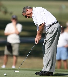 Fuzzy Zoeller puts swings during the first round of the Administaff Small Business Classic at Augusta Pines Golf Course October 12, 2007 in Spring, Texas. Champions Tour - 2007 Administaff Small Business Classic - First RoundPhoto by Bob Levey/WireImage.com