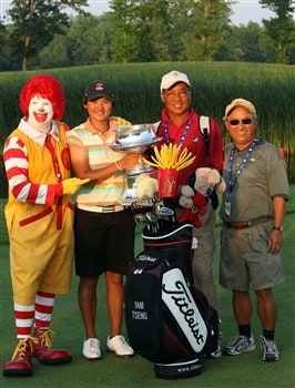 HAVRE DE GRACE, MD - JUNE 08:  Yani Tseng of Taiwan with the trophy, Ronald McDonald, her father Mao-Hsin Tseng and family friend Ernie Huang (right) after her victory in a play-off after the final round of the 2008 McDonald's LPGA Championship held at Bulle Rock Golf Course, on June 8, 2008 in Havre de Grace, Maryland.  (Photo by David Cannon/Getty Images)