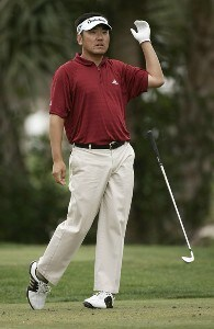 Charlie Wi loses his club on the 7th hole during the final round of the Honda Classic on the Champion Course at PGA National in Palm Beach Gardens, Florida on Sunday, March 4, 2007. PGA TOUR - The 2007 Honda Classic - Final RoundPhoto by Sam Greenwood/WireImage.com