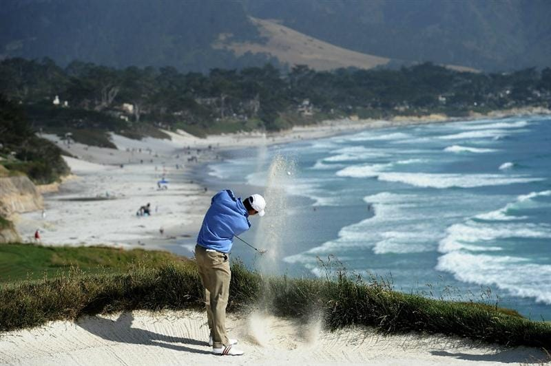 PEBBLE BEACH, CA - JUNE 17:  Amateur Bennett Blakeman hits a bunker shot on the ninth hole during the first round of the 110th U.S. Open at Pebble Beach Golf Links on June 17, 2010 in Pebble Beach, California.  (Photo by Harry How/Getty Images)