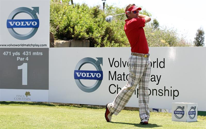 CASARES, SPAIN - MAY 21:   Ian Poulter of England during his quarter final match of the Volvo World Match Play Championships at Finca Cortesin on May 20, 2011 in Casares, Spain.  (Photo by Ross Kinnaird/Getty Images)