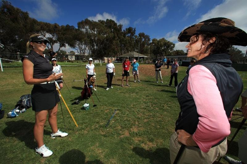 LA JOLLA, CA - SEPTEMBER 14:  LPGA player Jill McGill of the USA and Golf Instructor Dana Bates speak during Fortune Magazine Clinic at the LPGA Samsung World Championship on September 14, 2009 at Torrey Pines Golf Course in La Jolla, California. (Photo By Donald Miralle/Getty Images for the LPGA)