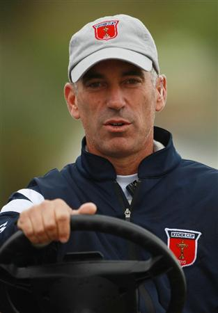 NEWPORT, WALES - OCTOBER 01:  USA Team Captain Corey Pavin looks on during the Morning Fourball Matches during the 2010 Ryder Cup at the Celtic Manor Resort on October 1, 2010 in Newport, Wales.  (Photo by Andrew Redington/Getty Images)