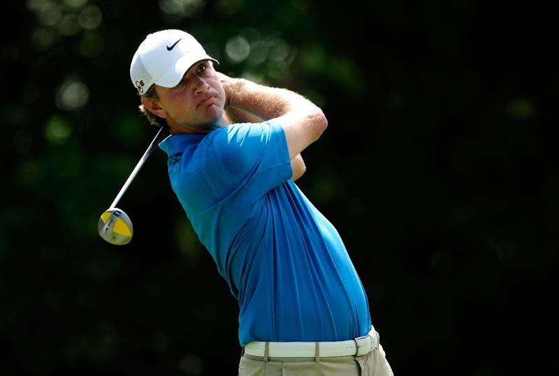 PONTE VEDRA BEACH, FL - MAY 08:  Lucas Glover plays his tee shot on the seventh hole during the third round of THE PLAYERS Championship held at THE PLAYERS Stadium course at TPC Sawgrass on May 8, 2010 in Ponte Vedra Beach, Florida.  (Photo by Sam Greenwood/Getty Images)