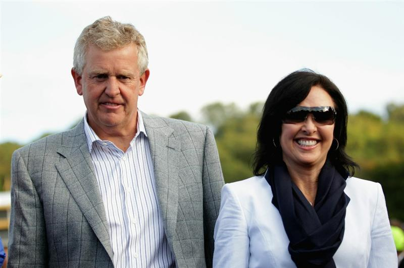 NEWPORT, WALES - OCTOBER 04:  European Team Captain Colin Montgomerie walks with his wife Gaynor following Europe's 14.5 to 13.5 victory over the USA at the 2010 Ryder Cup at the Celtic Manor Resort on October 4, 2010 in Newport, Wales.  (Photo by Andrew Redington/Getty Images)