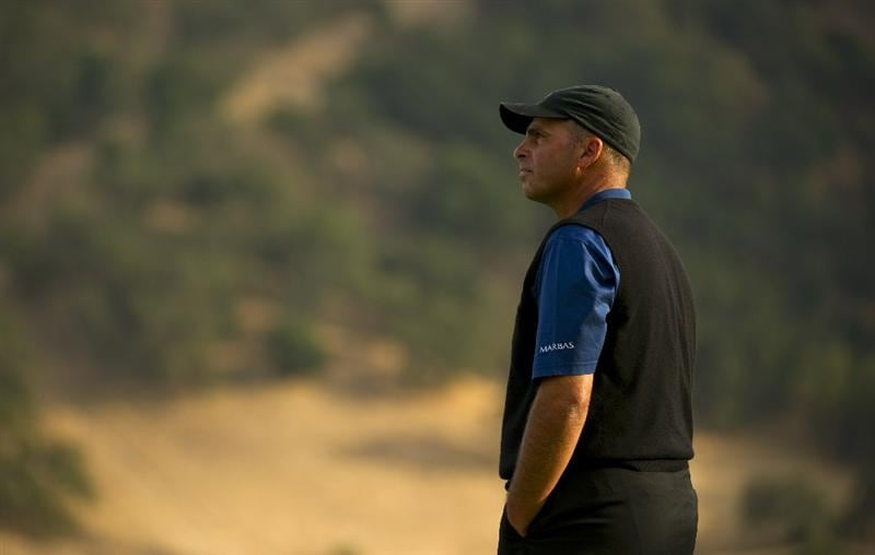 SAN MARTIN, CA - OCTOBER 16:  Rocco Mediate waits for his tee shot on the 18th tee box during the third round of the Frys.com Open at the CordeValle Golf Club on October 16, 2010 in San Martin, California.  (Photo by Robert Laberge/Getty Images)