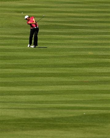 MELBOURNE, AUSTRALIA - MARCH 12:  Sarah Nicholson of New Zealand hits her approach shot on the eighth hole during round two of the 2010 Women's Australian Open at The Commonwealth Golf Club on March 12, 2010 in Melbourne, Australia.  (Photo by Mark Dadswell/Getty Images)
