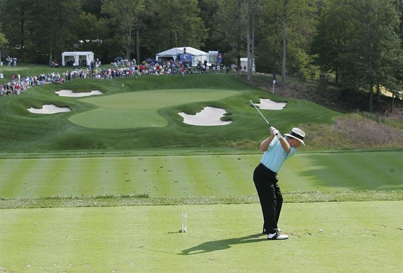 POTOMAC, MD - OCTOBER 09: Tom Kite hits his tee shot on the ninth hole during the third round of the Constellation Energy Senior Players Championship held at TPC Potomac at Avenel Farm on October 9, 2010 in Potomac, Maryland.  (Photo by Michael Cohen/Getty Images)