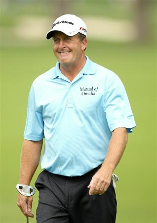 SAN FRANCISCO - NOVEMBER 05:  Fred Funk grimaces before he putts on the 2nd hole during round 2 of the Charles Schwab Cup Championship at Harding Park Golf Course on November 5, 2010 in San Francisco, California.  (Photo by Ezra Shaw/Getty Images)