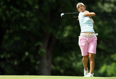 EDINA, MN - JUNE 28:  Momoko Ueda of Japan hits her second shot at the 3rd hole during the third round of the 2008 U.S. Women's Open Championship held at Interlachen Country Club on June 28, 2008 in Edina, Minnesota.  (Photo by David Cannon/Getty Images)