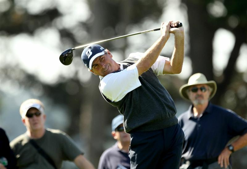SAN FRANCISCO - NOVEMBER 04:  Fred Couples tees off on the 4th hole during round 1 of the Charles Schwab Cup Championship at Harding Park Golf Course on November 4, 2010 in San Francisco, California.  (Photo by Ezra Shaw/Getty Images)