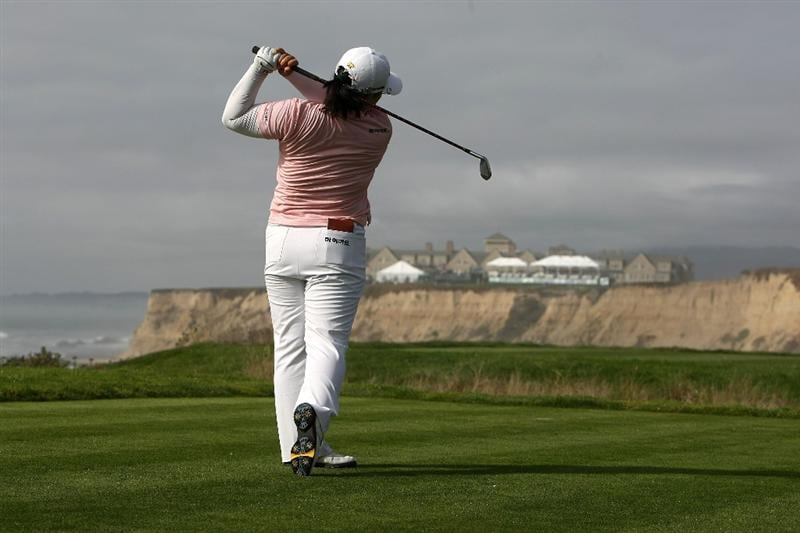 HALF MOON BAY, CA - OCTOBER 02:  Ja-Yai Shin tees off on the 17th hole during the first round of the Samsung World Championship at the Half Moon Bay Golf Links Ocean Course on October 2, 2008 in Half Moon Bay, California.  (Photo by Jonathan Ferrey/Getty Images)