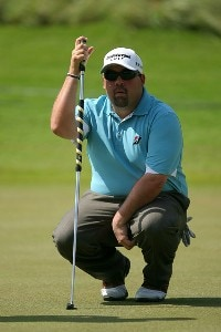 Kevin Stadler lines up a putt on the 17th hole during the first round Mayakoba Golf Classic at El Camaleon at Mayakoba in Playa Del Carmen, Mexico on February 22, 2007. PGA TOUR - 2007 Mayakoba Golf Classic - First RoundPhoto by Mike Ehrmann/WireImage.com