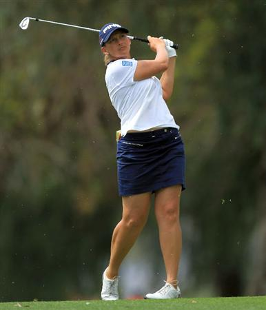 RANCHO MIRAGE, CA - MARCH 30:  Angela Stanford of the USA in action during the pro-am for the 2011 Kraft Nabisco Championship on the Dinah Shore Championship Course at the Mission Hills Country Club on March 30, 2011 in Rancho Mirage, California.  (Photo by David Cannon/Getty Images)