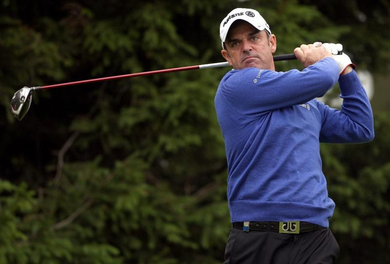 CRANS, SWITZERLAND - SEPTEMBER 04:  Paul McGinley of Ireland hits his tee-shot on the 15th hole during the second round of The Omega European Masters at Crans-Sur-Sierre Golf Club on September 4, 2009 in Crans Montana, Switzerland.  (Photo by Andrew Redington/Getty Images)