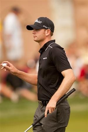 SAN ANTONIO, TX - APRIL 17: Brendan Steele acknowledges the gallery during the final round of the Valero Texas Open at the AT&T Oaks Course at TPC San Antonio on April 17, 2011 in San Antonio, Texas. (Photo by Darren Carroll/Getty Images)