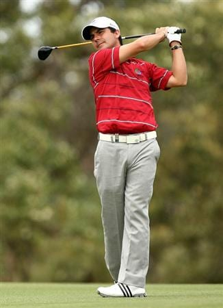 PERTH, AUSTRALIA - FEBRUARY 21:  Felipe Aguilar of Chile plays his second shot on the 18th hole during round three of the 2009 Johnnie Walker Classic at The Vines Resort and Country Club on February 21, 2009 in Perth, Australia.  (Photo by Paul Kane/Getty Images)