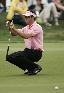 Robert Allenby reacts to a missed putt on the 12th hole during the final round of the Honda Classic on the Champion Course at PGA National in Palm Beach Gardens, Florida on Sunday, March 4, 2007. PGA TOUR - The 2007 Honda Classic - Final RoundPhoto by Sam Greenwood/WireImage.com