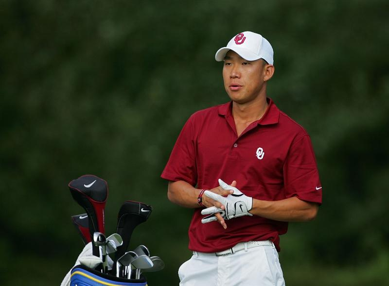 NORTON, MA - SEPTEMBER 05:  Anthony Kim of the United States sports a Oklahoma University shirt and hat during the second round of the Deutsche Bank Championship at TPC Boston held on September 5, 2009 in Norton, Massachusetts.  (Photo by Michael Cohen/Getty Images)