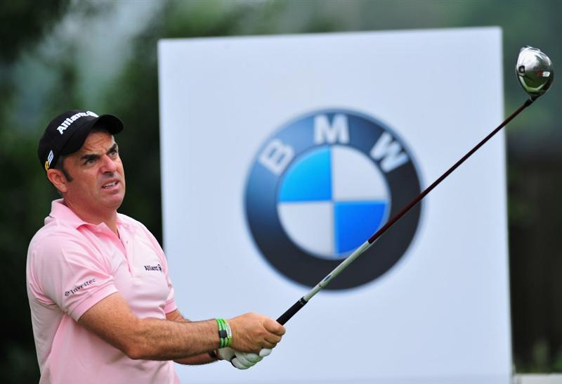 MUNICH, GERMANY - JUNE 25:  Paul McGinley of Ireland plays his tee shot on the nineth hole during the first round of The BMW International Open Golf at The Munich North Eichenried Golf Club on June 25, 2009, in Munich, Germany  (Photo by Stuart Franklin/Getty Images)