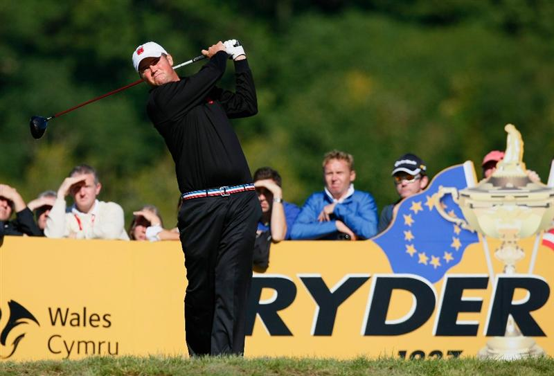 NEWPORT, WALES - OCTOBER 04: Jeff Overton of the USA tees off in the singles matches during the 2010 Ryder Cup at the Celtic Manor Resort on October 4, 2010 in Newport, Wales. (Photo by Tom Dulat/Getty Images)