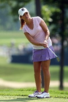 HAVRE DE GRACE, MD - JUNE 07:  Erica Blasberg of the USA hits her third shot at the par 4, 1st hole during the first round of the 2007 McDonald's LPGA Championship held at Bulle Rock golf course, on June 7, 2007 in Havre de Grace, Maryland.  (Photo by David Cannon/Getty Images)