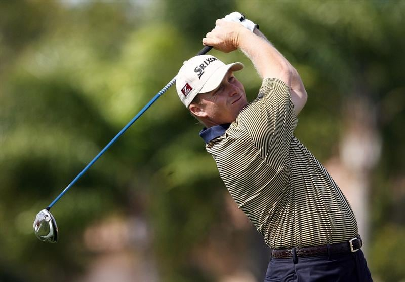 PALM BEACH GARDENS, FL - MARCH 05:  John Rollins hits his tee shot on the sixth hole during the first round of The Honda Classic at PGA National Resort and Spa on March 5, 2009 in Palm Beach Gardens, Florida.  (Photo by Doug Benc/Getty Images)