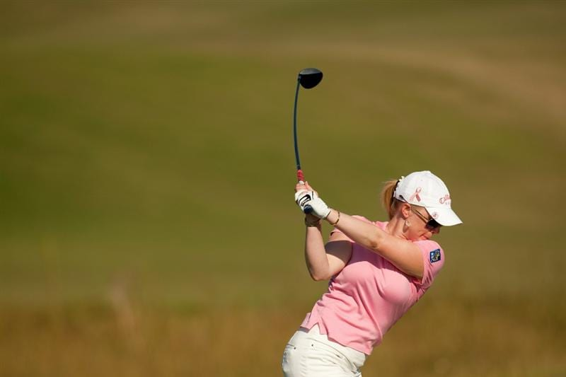 PRATTVILLE, AL - OCTOBER 8: Morgan Pressel hits a tee shot during the second round of the Navistar LPGA Classic at the Senator Course at the Robert Trent Jones Golf Trail  on October 8, 2010 in Prattville, Alabama. (Photo by Darren Carroll/Getty Images)