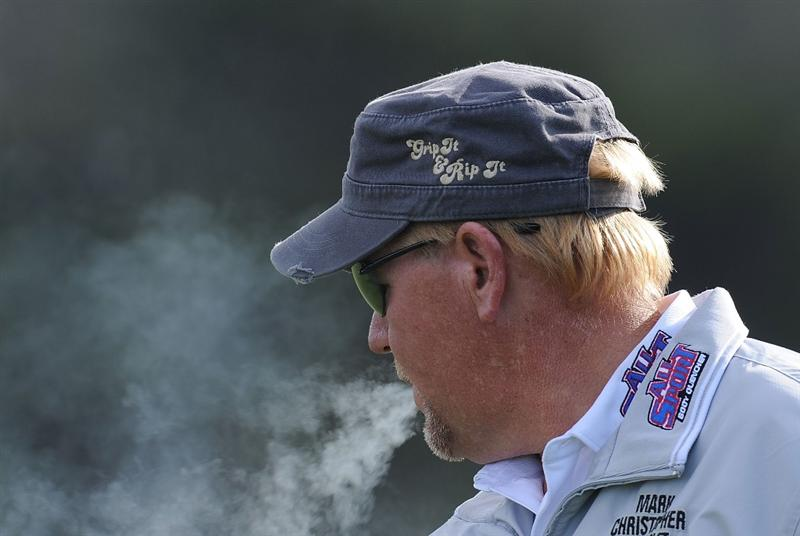 PEBBLE BEACH, CA - FEBRUARY 11:  John Daly during round one of the AT&T Pebble Beach National Pro-Am at Monterey Peninsula Country Club Shore Course on February 11, 2010 in Pebble Beach, California.  (Photo by Stuart Franklin/Getty Images)