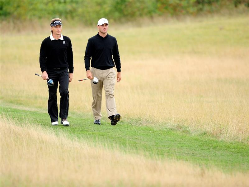 COLOGNE, GERMANY - SEPTEMBER 13:  Bernhard Langer and Florian Fritsch of Germany during the final round of The Mercedes-Benz Championship at The Gut Larchenhof Golf Club on September 13, 2009 in Cologne, Germany.  (Photo by Stuart Franklin/Getty Images)