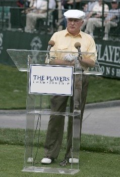 Former PGA commissioner Deane R. Beman commemerates the Drive to a Billion countdown during practice for THE PLAYERS championship at the Tournament Players Club at Sawgrass in Ponte Vedra Beach, Florida on March 23, 2005.