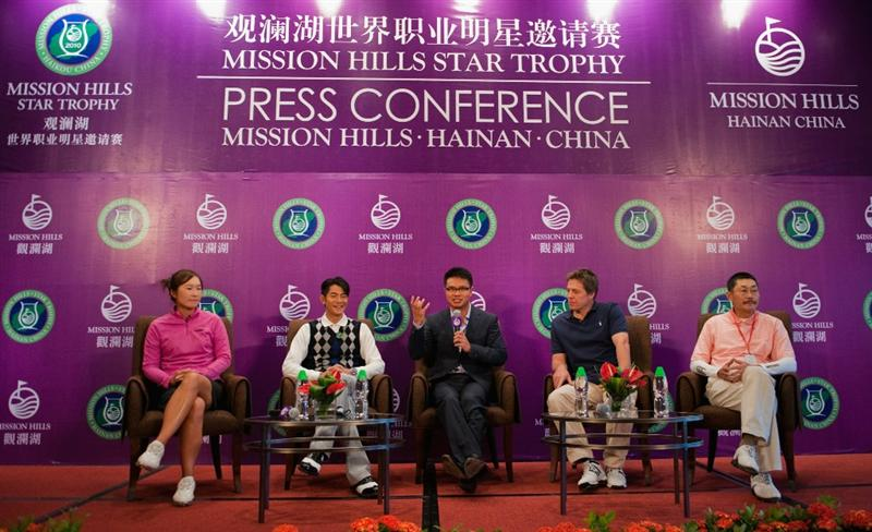 HAIKOU, CHINA - OCTOBER 28:  (L-R) LPGA Tour player Candie Kung of Taiwan, Hong Kong singer Aaron Kwok, Vice Chairman of Mission Hills Group Dr. Ken Chu, Hollywood actor Hugh Grant of Great Britain and Chinese film director He Ping attend a press conference during the Mission Hills Star Trophy on October 28, 2010 in Haikou, China. The Mission Hills Star Trophy is Asia's leading leisure lifestyle event which features Hollywood celebrities and international golf stars.  (Photo by Victor Fraile/Getty Images)
