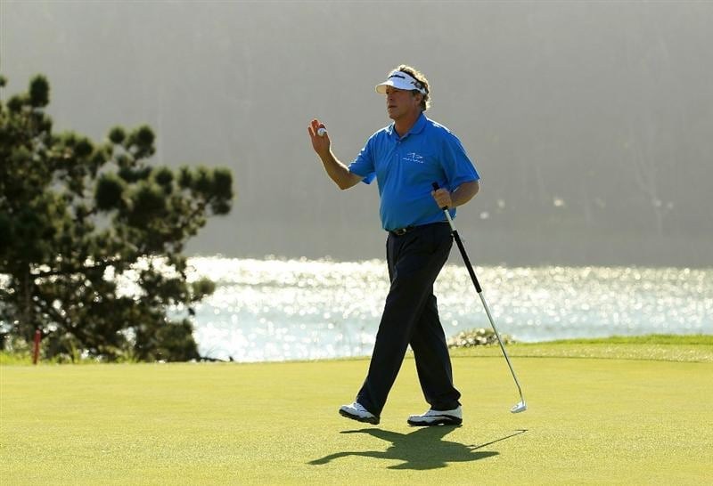 SAN FRANCISCO - NOVEMBER 06:  Michael Allen waves to the crowd after making par on the 17th hole during round 3 of the Charles Schwab Cup Championship at Harding Park Golf Course on November 6, 2010 in San Francisco, California.  (Photo by Ezra Shaw/Getty Images)