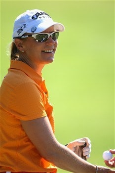 EVIAN, FRANCE - JULY 26:  Annika Sorenstam of Sweden smiles as she warms up on the practice ground before the third round of the Evian Masters at the Evian Masters Golf Club on July 26, 2008 in Evian, France.  (Photo by Andrew Redington/Getty Images)