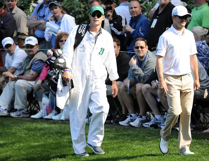 AUGUSTA, GA - APRIL 06:  Andy Roddick (L) caddies for Zach Johnson during the Par 3 Contest prior to the 2011 Masters Tournament at Augusta National Golf Club on April 6, 2011 in Augusta, Georgia.  (Photo by Harry How/Getty Images)