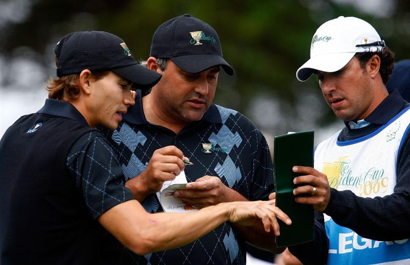 SAN FRANCISCO - OCTOBER 08:  Camilo Villegas and Angel Cabrera of the International Team wait on the second tee during the Day One Foursome Matches of The Presidents Cup at Harding Park Golf Course on October 8, 2009 in San Francisco, California.  (Photo by Scott Halleran/Getty Images)
