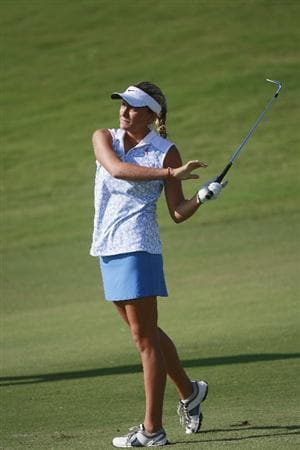 PRATTVILLE, AL - OCTOBER 2:  Amateur golfer Alexis Thompson, 14, watches her approach shot to the 11th green during second round play in the Navistar LPGA Classic at the Robert Trent Jones Golf Trail at Capitol Hill on October 2, 2009 in  Prattville, Alabama.  (Photo by Dave Martin/Getty Images)